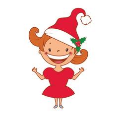 Illustration of funny smiling little girl in santa's hat. Vector