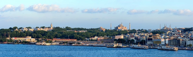 Bluemosque and Hagia Sophia in Sunset-Golden Hours Istanbul, Turkey