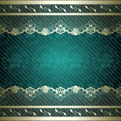 Floral lace background in green and gold