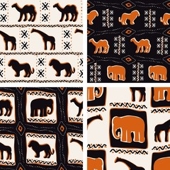 Set of orange Africa-themed seamless patterns