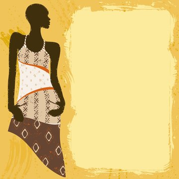 Grungy banner with an African woman in a patterned dress
