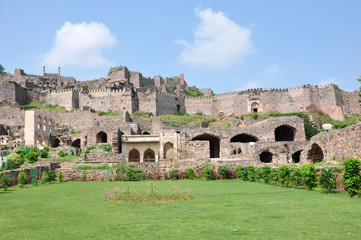 Golconda Fort in Hyderabad, India.