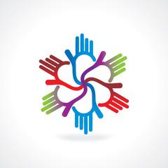colorful hand teamwork vector illustration