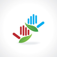 hands created with green leaf vector