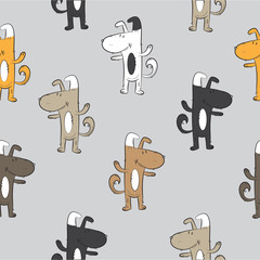 Seamless pattern with cute cartoon dogs and bones on a gray background.