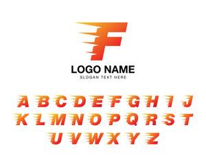 alphabet moving logo set fire