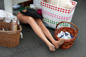 Legs of an old female mannequin