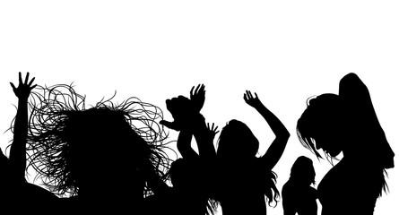 Dancing Crowd Silhouette - Black Illustration, Vector