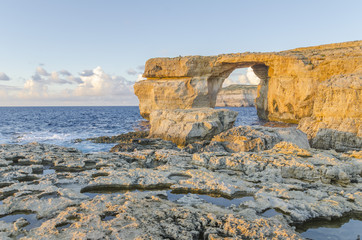 Azure Window in Dwejra, island Gozo, Malta at dawn