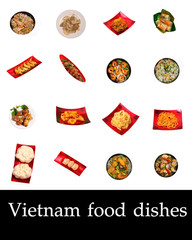 Vietnam set of isolated food dishes