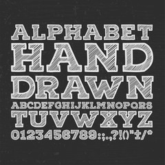 chalk sketched striped alphabet abc vector font. Type letters