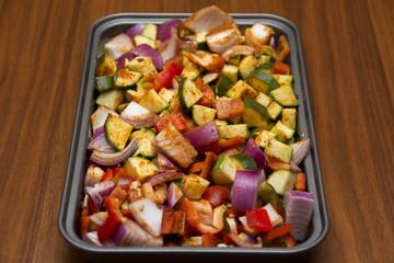 Fresh seasoned vegetables for roasting