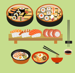 Vector food background- Japanese food