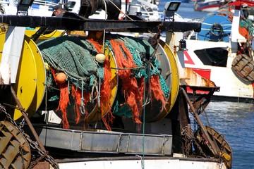 filets de pêche sur un chalutier breton,guilvinec,