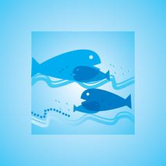 fish inside of water vector illustration
