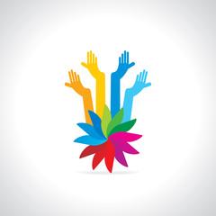 creative teamwork hand vector illustration