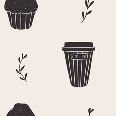 Repeating pattern with muffins and coffee in neutral colors. Seamless doodle background. Perfect for kitchen and cafe packaging, fabrics, napkins