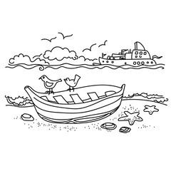 Sailing boat hand drawn