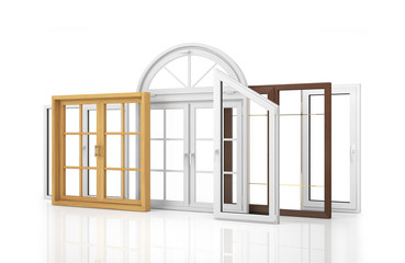 Сomposition of various kinds of window isolated on white backgr