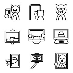 Selfie elements line icons