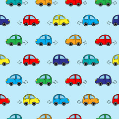 Seamless pattern with multicolored cars