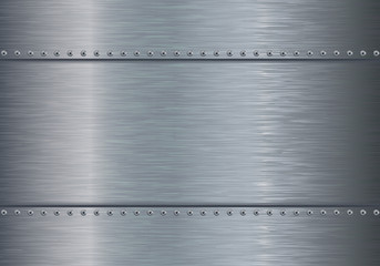 Metal background with steel plate and screws.