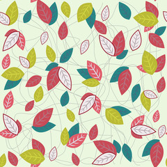 Pattern with colorful leaves .