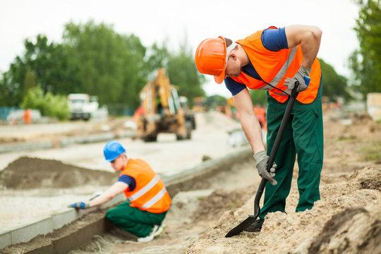 Manual labourer working