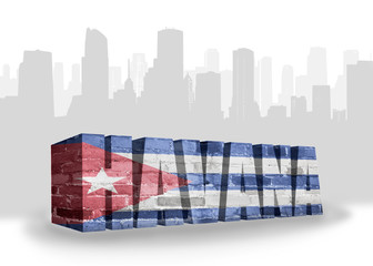 text havana with national flag of cuba near abstract silhouette of the city