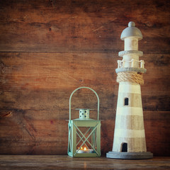 nautical lifestyle evening concept. old vintage lighthouse, lantern