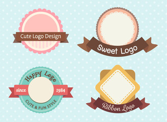 cute and sweet pastel vintage premium logo or label template set