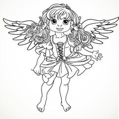 Pretty angel girl with wings black outline for coloring