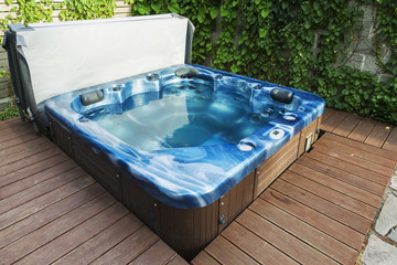 outdoor hot tub in the garden