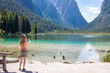 Taking photos at Lake Toblach, Tyrol
