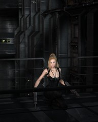 Science fiction illustration of a blonde female warrior character crouching in a dark city street at night, 3d digitally rendered illustration
