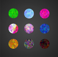 a set of polygonal sphere ball diamond on a dark background