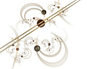 Abstrakte Computergrafik: Kugeln auf Linien und Kurven mit floralen Objekten. Elegante Grafik für festliche Grußkarten, Poster, Wallpaper. Weißer Hintergrund