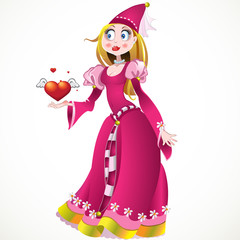 Poster Ridders Princess in pink dress giving heart and love