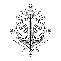 Vintage Hand Drawn Flourish Anchor Illustration