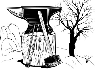 Illustration with a sledge hammer and an anvil on a tree stump