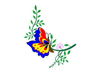 Butterfly on a branch vector illustration, Isolated on a white background, butterfly on a branch with flower and leaves