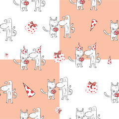 Seamless pattern with the dog receiving birthday greetings from a cat. Delivery of a gift.