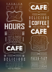 Set of calligraphic and typographic