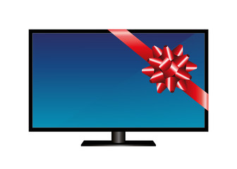 LCD television with red gift ribbon Vector illustration isolated on white background