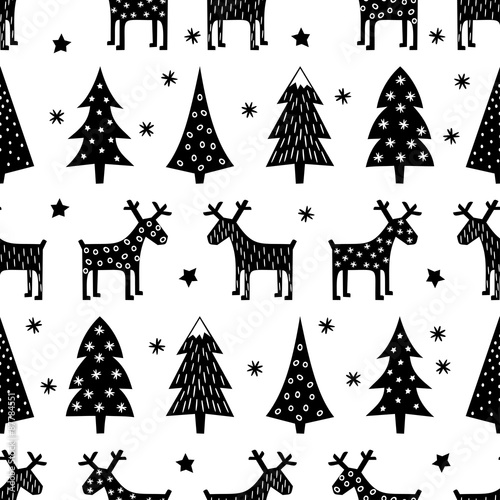 seamless retro christmas pattern varied xmas trees reindeer stars and snowflakes black