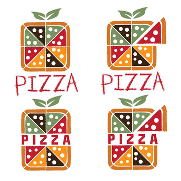 square pizza set vector design template