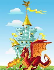 magical fairytale red Dragon near the blue magic castle