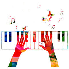 Colorful music background with piano
