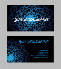 Set of business cards with black background. Arabic mandala, vector illustration.
