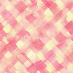 Pink, yellow lines and squares painted watercolor pattern